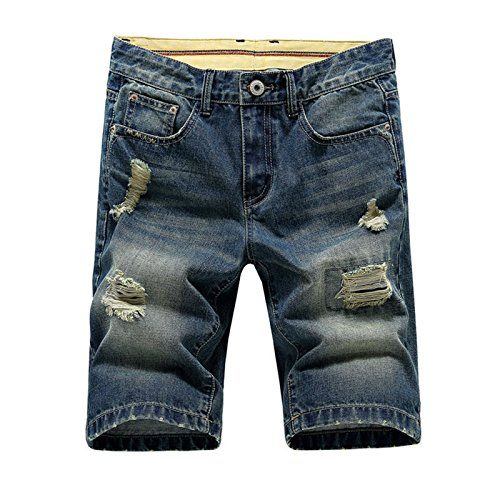 (Hzcx Fashion Men's Summer Light Weight Blue Short Jeans Slim Brush Denim Shorts QT3016-08198-40-34)