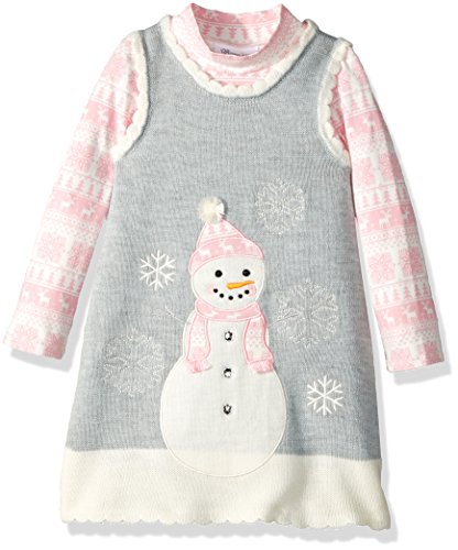 Bonnie Jean Little Girls' Intarsia Sweater Jumper Set with Applique, Snowman Fair Isle, (Sweater Jumper Set)