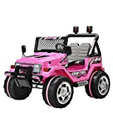 Uenjoy Kids Power Wheels 12V Ride on Car Electric Car 2 Speeds with Remote Control/Leather Seat/UV Lights Pink