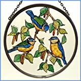 Decorative Hand Painted Stained Glass Window Sun Catcher/Roundel in a Blue Tits Design.