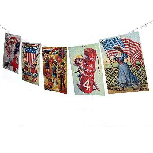 - Vintage 4th of July Postcards Banner - Independence Day Garland - photo reproductions on felt