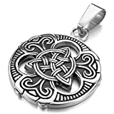 INBLUE Men's Stainless Steel Pendant Necklace Silver Tone Black Irish Celtic Knot Triquetra -With 23 Inch Chain