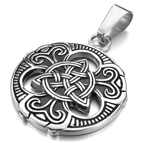 INBLUE Mens Stainless Steel Pendant Necklace Silver Tone Black Irish Celtic Knot Triquetra -With 23 Inch Chain