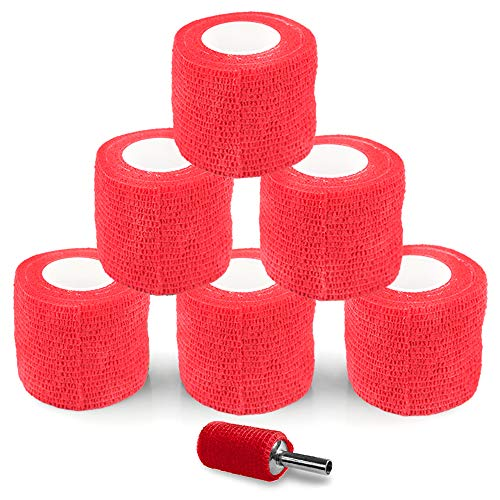 Tattoo Grip Cover - Sotica 6pcs 2inch Red Disposable Cohesive Tattoo Grip Cover Wrap Tattoo Grip Bandage Roll Sport Elastic Bandage Handle Grip Tube for Tattoo Supply Tattoo Kit Tattoo Accessories