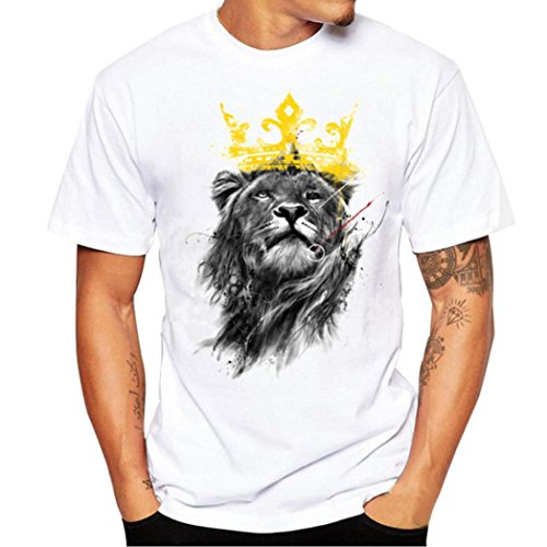 - ZYooh Fashion Boys Mens Round Neck T-Shirt,Fun Lion Printing Casual Short Sleeve Tee Cotton Solid Color Short Tops (S, White)