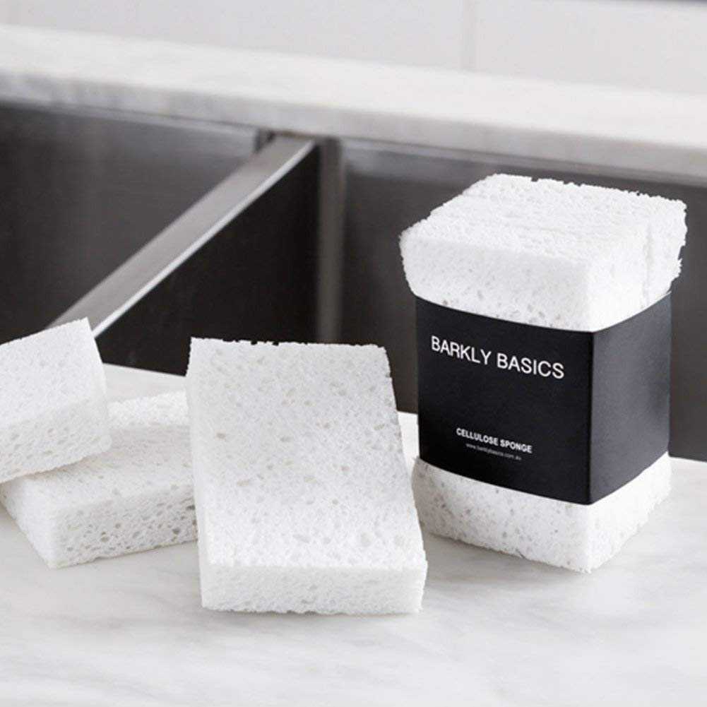 100% Biodegradable Natural Cellulose Sponges, Set of 6 (Two 3-Packs), White by Barkly Basics (Image #2)