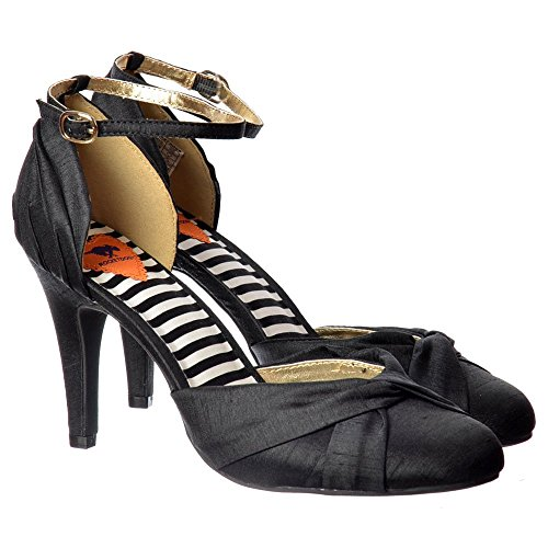 Coral Mid Ankle Women's Heel Black Strap Dog Olivia Shoe Black Rocket Silver RzwxW