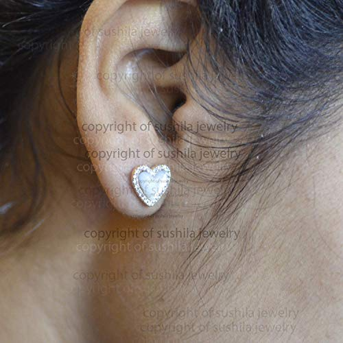 14k Solid Yellow Gold Pave SI Clarity G Color Diamond Genuine Mother of Pearl Gemstone Heart Stud Earrings Handmade Minimalist Jewelry