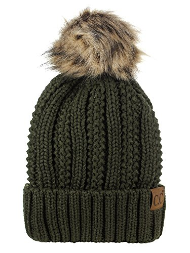 Olive Womens Beanie - C.C Thick Cable Knit Faux Fuzzy Fur Pom Fleece Lined Skull Cap Cuff Beanie, Dark Olive