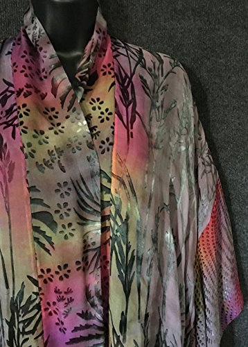Kimono Scarf Jacket Hand Dyed Grey Color Mix by Sherry Bingaman