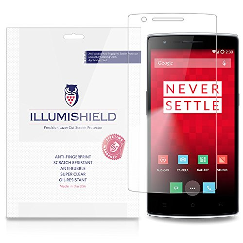 (iLLumiShield Screen Protector Compatible with OnePlus One (3-Pack) Clear HD Shield Anti-Bubble and Anti-Fingerprint PET Film)