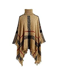 Bridess Women's Winter Sweater Knitted Tassel Poncho Batwing Plaid Pullover Shawl Cloak