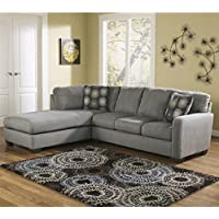 Ashley Zella Polyester Sofa Sectional in Charcoal