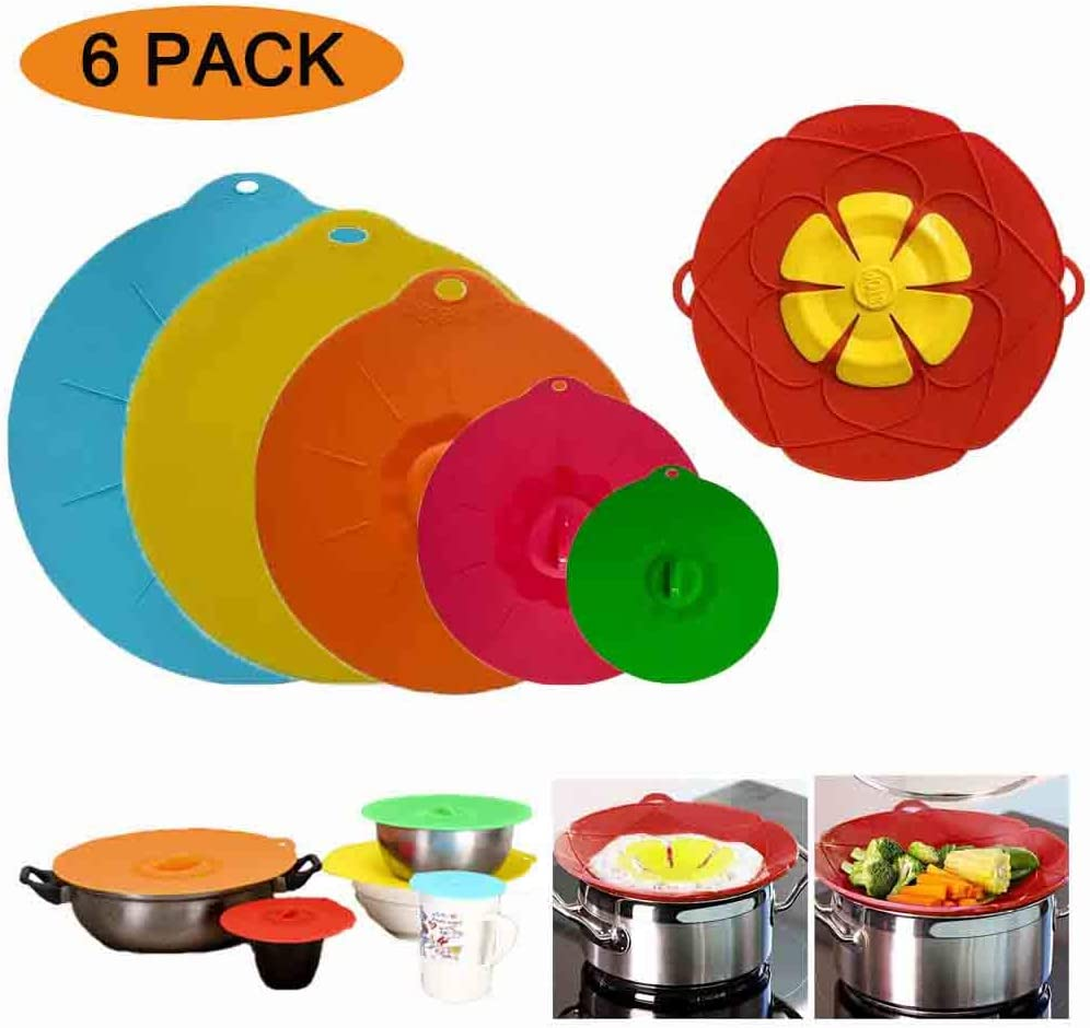 Pots,Oven Silicone Suction Lids of 5 Pcs /& 1 Spill Stopper Lid Cover for Bowls Plate Fridge Set of 6 Multicolor Silicone Lid Covers