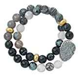 Silpada 'Ode to Geode' Sterling Silver, Agate, and Druzy Stretch Bracelet, 6.75""
