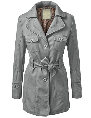 WJC740 Womens Mod Faux Leather Trench Coat XS GRAY -