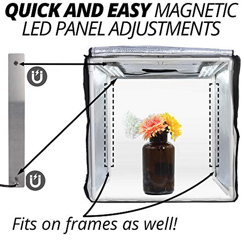 Phomito Light Box Tent Booth for Product Photography, 7 Dimmable Lighting Settings, 3 Backdrops, Portable Bag, Perfect for Photo Shooting Studio (Four LED Panels, 31.5x31.5x31.5 Inches) by Phomito (Image #2)