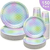 150 PCS Mermaid Party Supplies Paper Dinnerware Set - Graduation Retirement Bridal Wedding Baby Shower Girls Birthday Party Disposable Tableware with 50 Dinner Plates, 50 Dessert Plates, 50 9 oz Cups