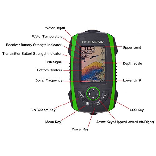 FISHINGSIR Wireless Portable Fish Finder Depth Finder Fishfinder with Sonar Sensor Transducer and 100M LCD colors Display by FISHINGSIR (Image #1)