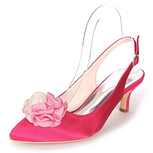 Dance Silk Heel Women Toe Elobaby Handmade Shoes 6cm Bridesmaids Peep Flowers Red Wedding Ladies Rose 8YzUqq7w
