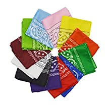 12pcs Bandanas, YSLF Multi-color Cotton Cowboy Bandanas Headband for Men and Women