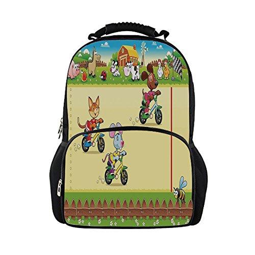 - iPrint Kids School Bag Kids,Racing Mouse Cat Dog on the Bike in Farm Animal Comic Caricature Illustration,Multicolor Girls boys