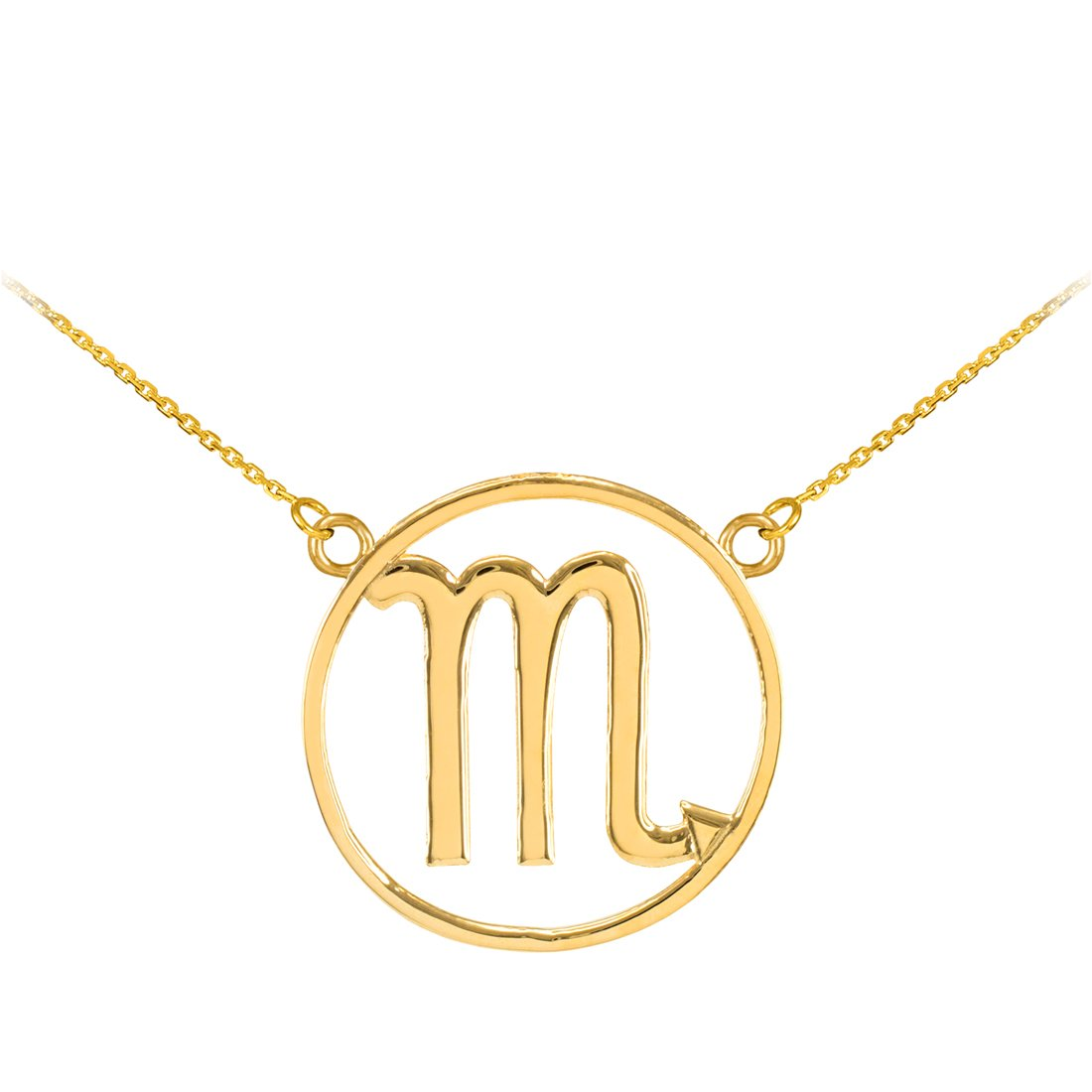LA BLINGZ 14K Polished Yellow Gold Scorpio Zodiac Sign Necklace