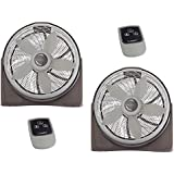 Lasko 20 Inch Cyclone Floor or Wall Mounted Pivoting Fan w/Remote, Gray (2 Pack)