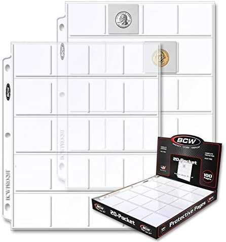 100 BCW Polypropylene 20 Pocket Coin Pages for 2 x 2s