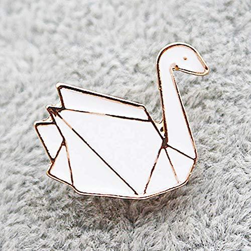 Collar Pin Women Jewelry Badge Hijab Pins Enamel Brooches Origami Animals (Size - Swan)