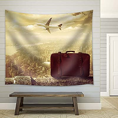 Delightful Portrait, Retro Style Travel Concept Photo with Plane and Briefcase, Top Quality Design