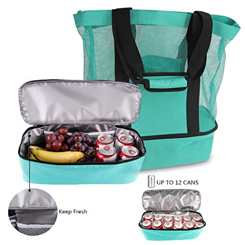 Beach Bag and Totes Insulated Picnic Cooler Pool Bag with Zipper Top, Camping Insulation Bag Ice Bag, Canvas Mesh Lunch Bag Light Green