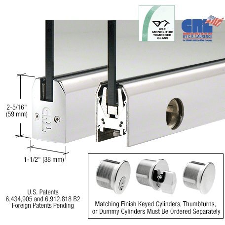 Polished Stainless Low Profile Tapered Door Rail With Lock - 8'' Patch