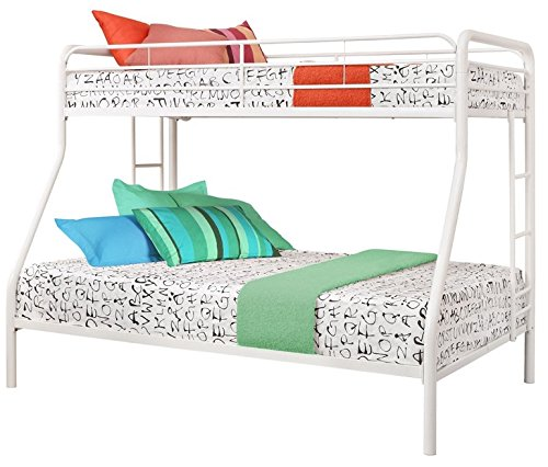 Sturdy Kids Sturdy Twin Over Full Metal Bunk Bed with Stairs. This Durable Steel Frame Bunk Bed For Kids includes full-length guardrails, and the bunk bed does not need a box spring. (White)