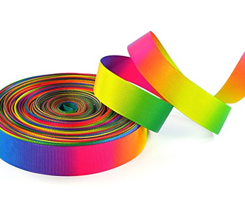Polyester Grosgrain Ribbon - Gradient Rainbow Pastel Abstract Double Sided Print Cheer Ribbons for Hair Bow 10 Yards (7/8
