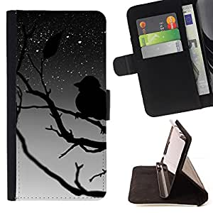 DEVIL CASE - FOR Apple Iphone 6 - Bird Tree Branch Night Sky Stars Dreaming - Style PU Leather Case Wallet Flip Stand Flap Closure Cover