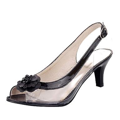 Sandalias para Mujer,Sandalias de Flores para Mujeres Zapatos con tacón de Aguja con Hebilla Transparente Sandalias de tacón Alto Transparentes: Amazon.es: ...