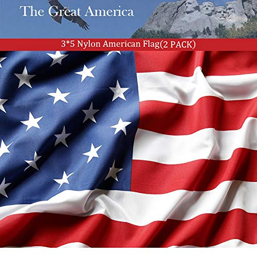American Flag 3x5 Foot 2PACKS,Nylon US Flags with Bright Viv