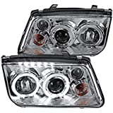 Spec-D Tuning Led Projector Headlights Chrome W/Fog for 1999-2004 Volkswagen Jetta Head Light Assembly Left + Right Pair