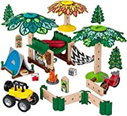 Fisher-Price Wonder Makers Design System Soft Slumber Campground - 60+ Piece Building and Wooden Track Play Se