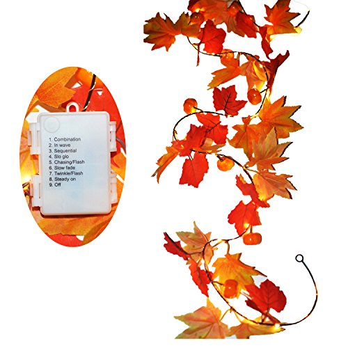 (Gogo shopping 3 AA Battery Powered Lighted Fall Garland with 8 Mode - 8.2 Feet - Shades of Orange and Yellow Leaves with 20 Lights - Perfect Fall/Christmas/Home Decoration (2.5M, Warm White))