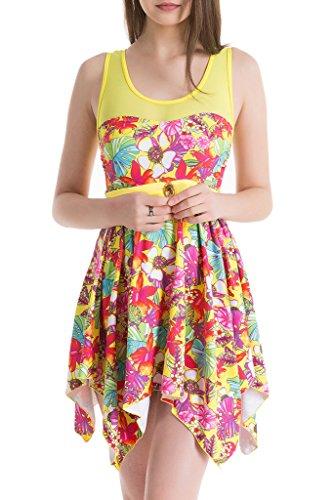 Any Pallet Load (Women's Elegant Skirt One-Piece Swimsuit High Waist Swimwear Backless Swimdress Yellow Flower XL(US4-6))