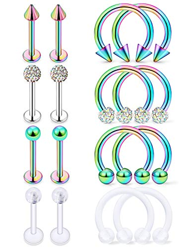Hoeudjo 16Pcs 16G Surgical Steel Lip Rings Clear Diamond CZ Labret Studs Tragus Horseshoe Ring Helix Hoop Earring Body Jewelry Piercing Retainer for Women Men Rainbow 8mm (Surgical Steel Lip Rings Labret)