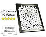 Wedding Guest Book Frame with Wood or Color Signable Drop In Hearts