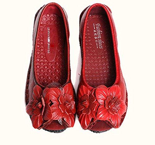 Mocassini In Pelle Di Vacchetta Soojun Donna Scarpe Basse Stile Slip-on 3 Rosso