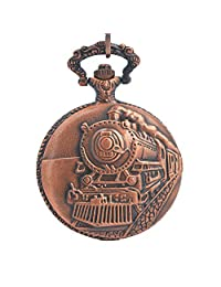 Timeconcept Pocket Watch with Chain Railroad Embossed Arabic Numerals Full Hunter Steampunk Design