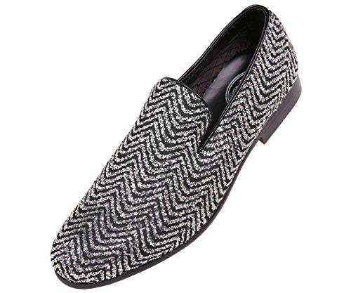 Amali Mens Metallic Sparkling Glitter Tuxedo Slip On Smoking Slipper Dress Shoe White/Silver 7BCAyd