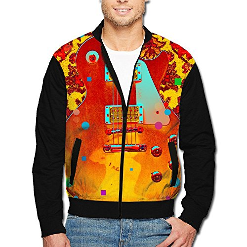 (SCOOLY Guitar Art Men/Youth Long Sleeve Full Zip Jacket Small)