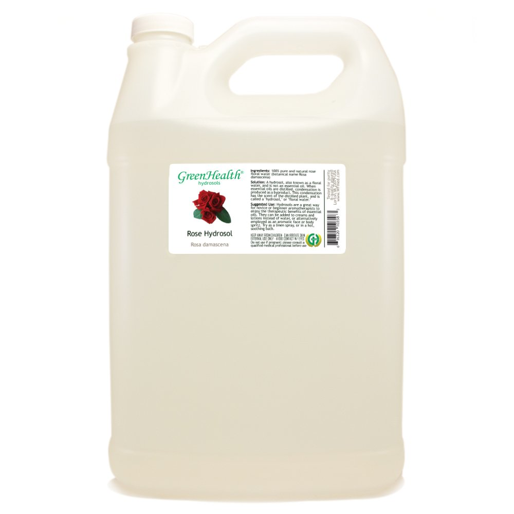 Rose Hydrosol - 1 Gallon Plastic Jug w/Cap - 100% pure, distilled from essential oil by GreenHealth