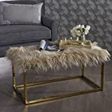 Glam Faux Furry Beige Long Fur Ottoman with Gold Finish Stainless Steel Frame